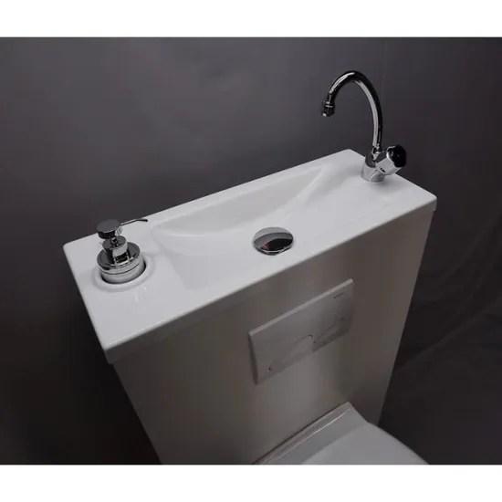 wc suspendu avec lave mains integre
