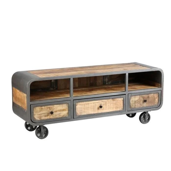 meuble tv sur roulettes en bois naturel