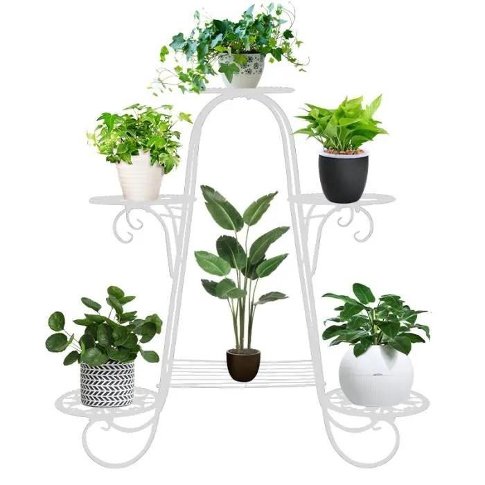 porte plante support a fleurs a 6 couches etagere a plantes en fer forge support a plantes d art creatif d interieur blanc