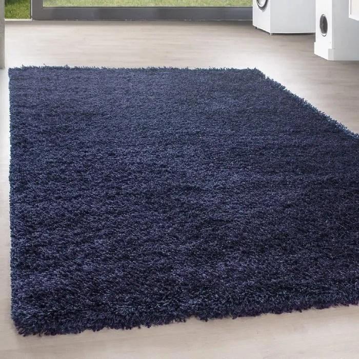 shaggy shaggy long pile pas cher bleu marine tapis