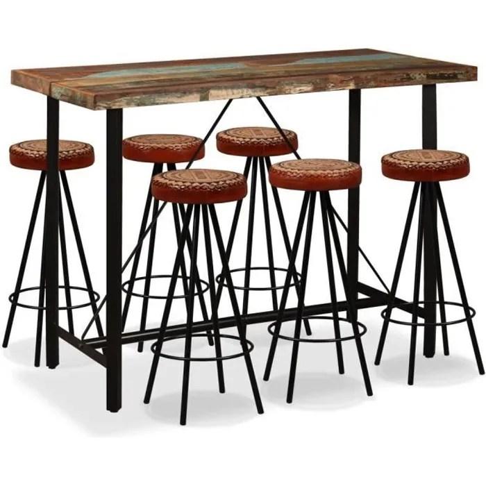 ensemble table bar de 2 a 6 personnes style contemporain 6 tabourets de bar mange debout table haute bois de recuperation cuir