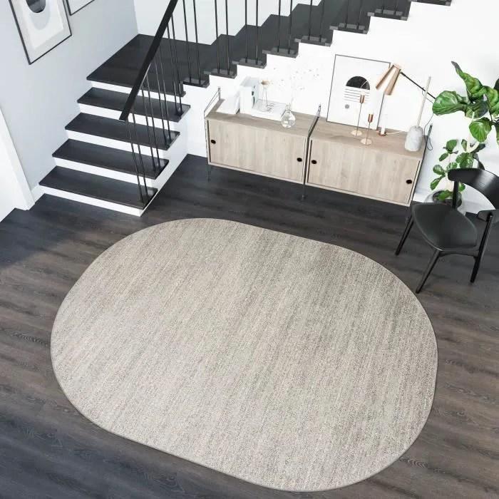 tapiso sari ovale tapis de salon chambre moderne geometrique mouchete gris clair frise 140 x 190 cm