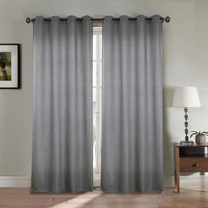 paire double rideaux 140x260 cm gris clair effet