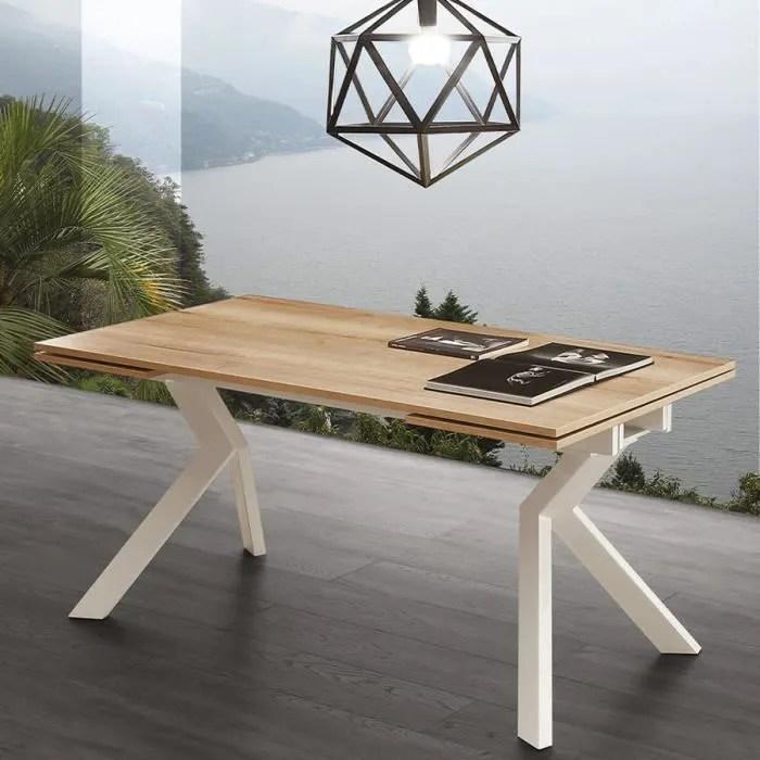 table avec rallonge couleur bois et blanche modern