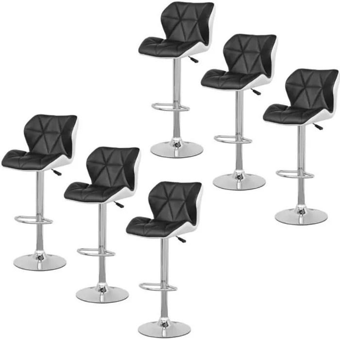 jeobest tabouret de bar lot de 6 chaise de bar noir et blanc