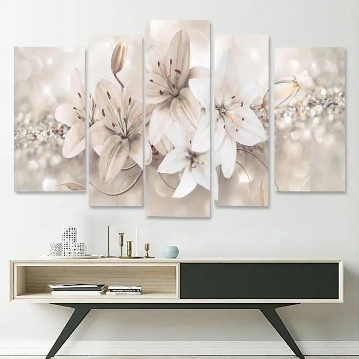 neufu 5pcs peinture a l huile tableau lis fleur abstraite moderne art sur toile salon decor a maison chambre restaurant encadre