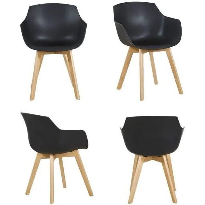 dora lot de 4 chaise salle a manger fauteuils scandinave de cuisine avec pieds en bois de hetre massif noir