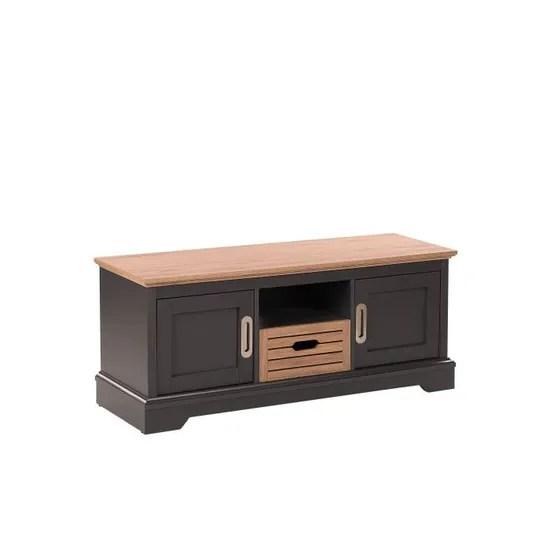 beliani meuble tv gris fonce et bois clair garet