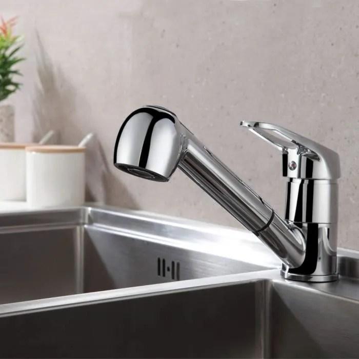 auralum chrome robinet de cuisine avec douchette extractible 2 jets mitigeur evier a 360 en laiton robinetterie cuisine lavabo a