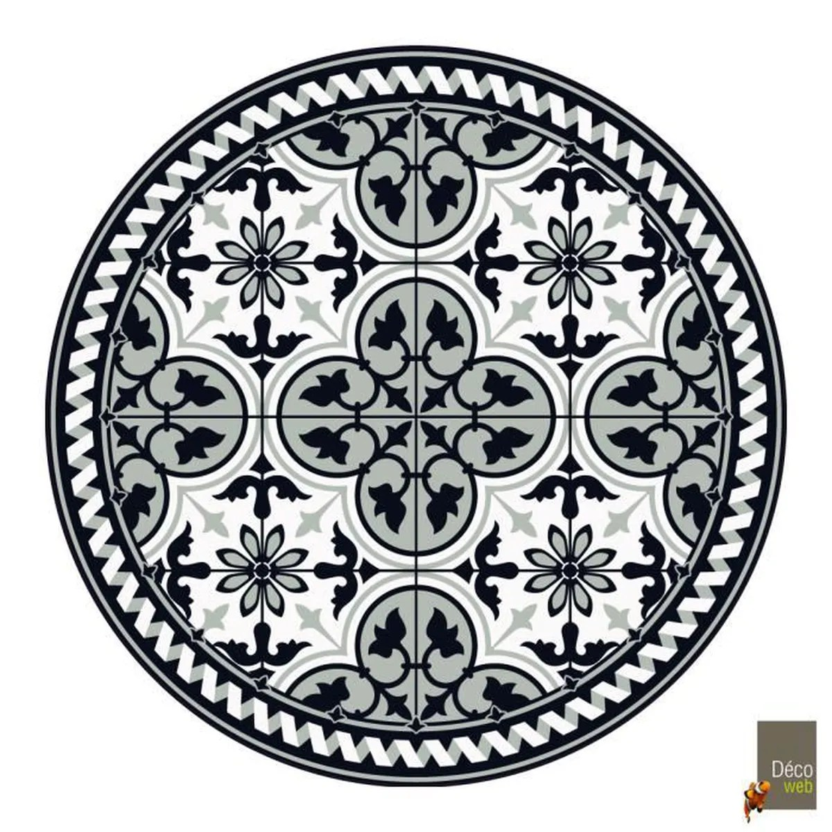tapis rond vinyle carreaux de ciment