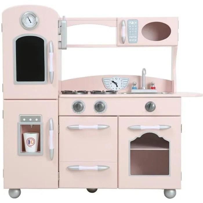 cuisine enfant en bois dinette en rose pour fille et garcon teamson kids td 11414p