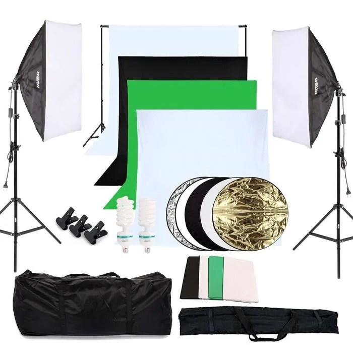 softbox kit eclairage studio photo 2 softbox 2 trepied 2 ampoule led kit de fond 5 reflecteur