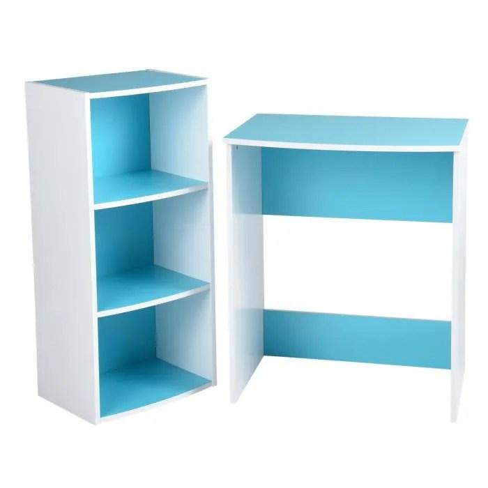 furnish1 ensemble de bureau etagere rangement et bureau pour l etude a domicile des enfants et des etudiants bleu