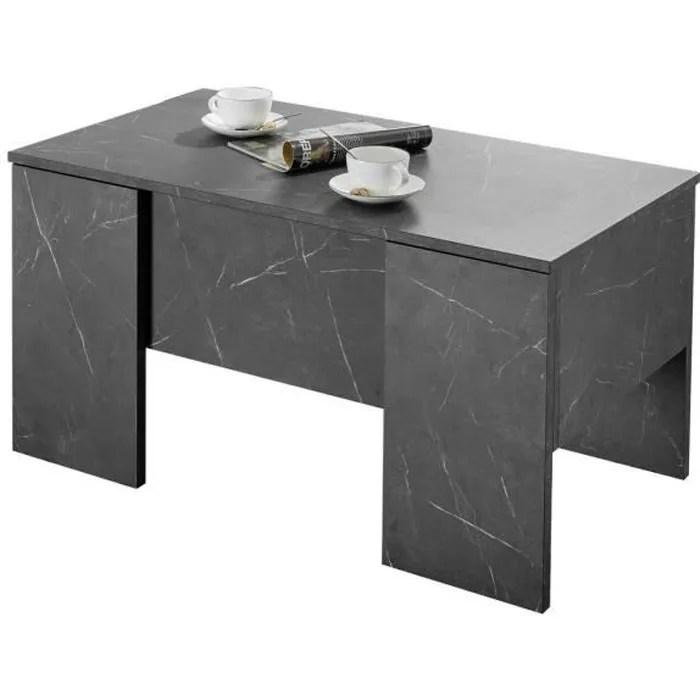 miliboo table basse relevable design effet marbre noir l92 cm carra