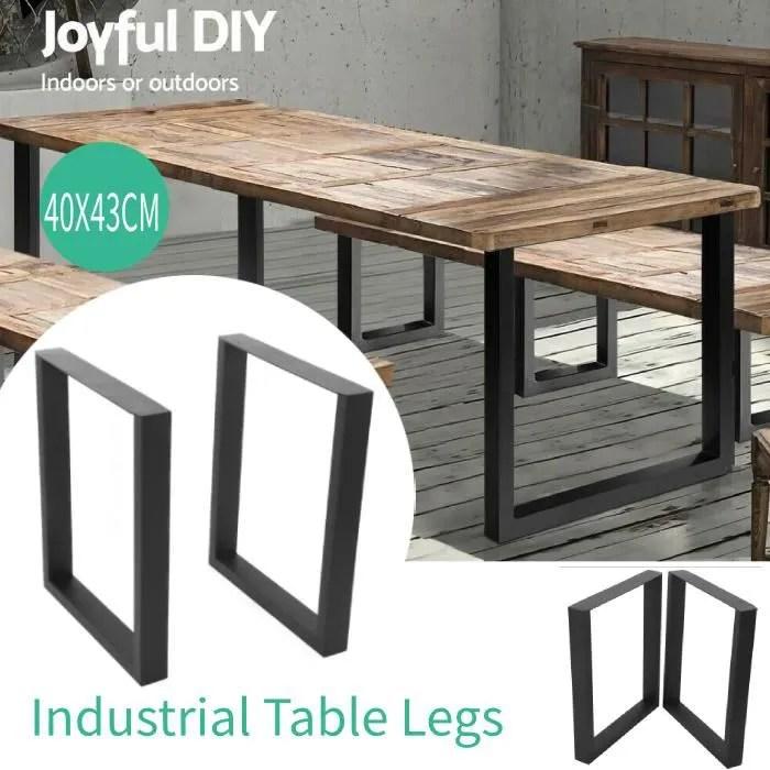 set de 2 pieds de table pied de meuble metal revet