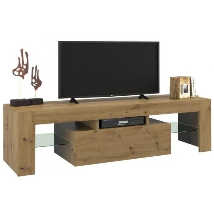 rosalie meuble tv moderne avec etageres en verre