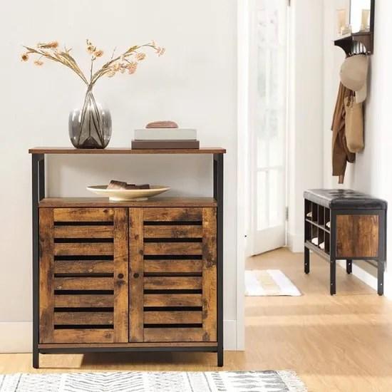 vasagle meuble de rangement industriel 70 x 30 x 80 cm l x l x h cadre en acier meuble de salle de bain buffet
