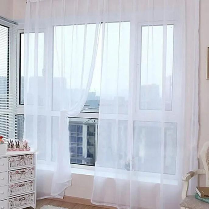 2 pcs couleur pure tulle porte fenetre rideau drap