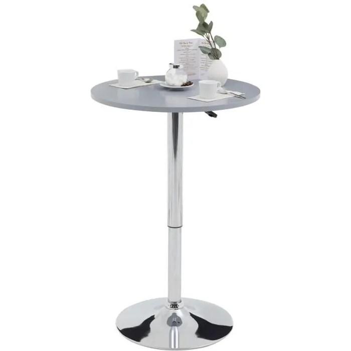 table haute de bar vista table bistrot ronde hauteur reglable avec plateau tournant en mdf gris et socle en metal chrome