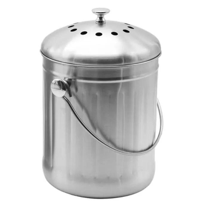 mini poubelle a compost en acier inoxydable seau a compost de cuisine avec couvercle 5 l