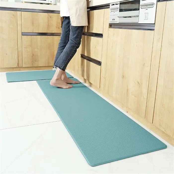 tapis de cuisine decoration cyan tapis antiderapa