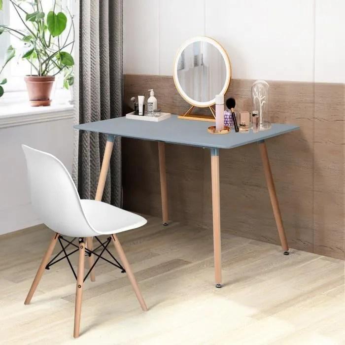 table a manger rectangulaire de 4 a 6 person table de salle a manger scandinave minimaliste pieds rondes en bois 110 x 70 cm gris