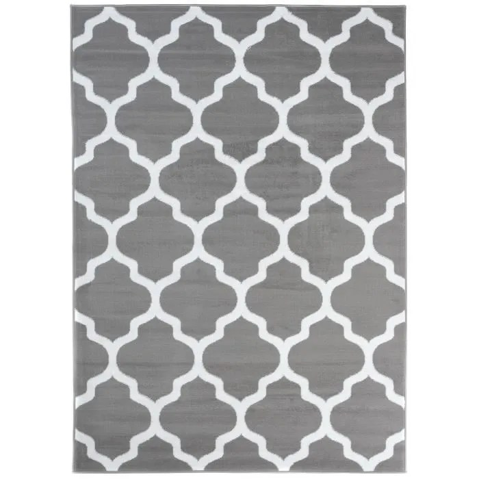 tapiso luxury tapis de salon gris blanc trefle 300