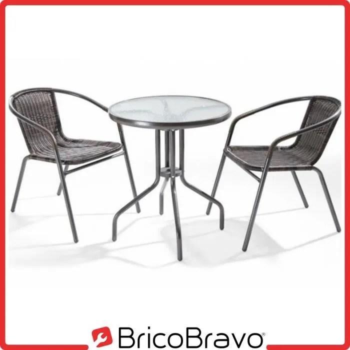 salon de jardin en poly rotin 2 chaises table o6