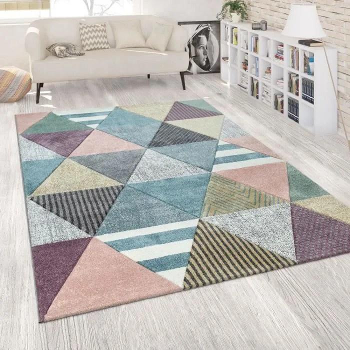 tapis colore salon couleurs pastel coloris pastel motif diamants design 3d design happy design 120x170 cm