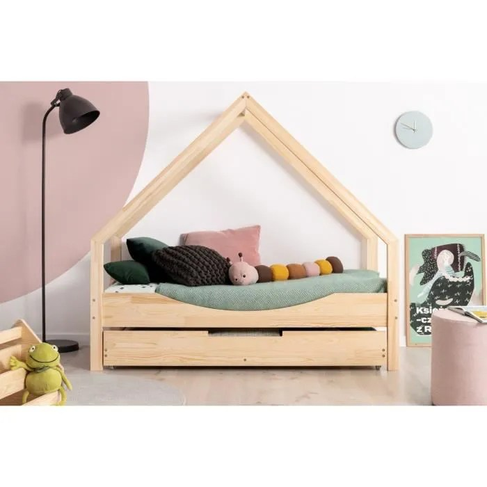lit enfant 80 x 140 cm avec sommier et tiroir 2e couchage possible type cabane en bois naturel modele ce