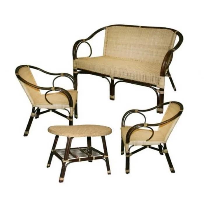 set salon en rotin canape 2 fauteuils table basse deco montmartre