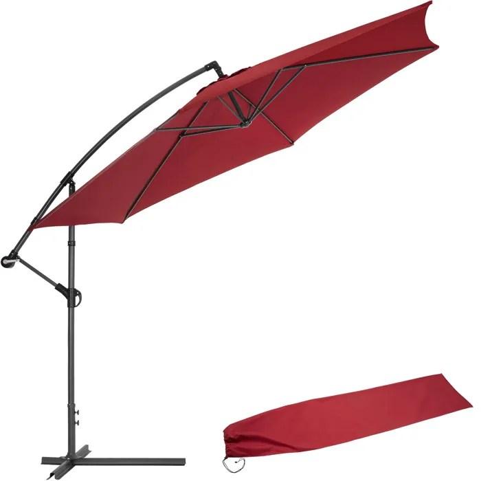 tectake parasol deporte inclinable rouge pied en metal housse de protection