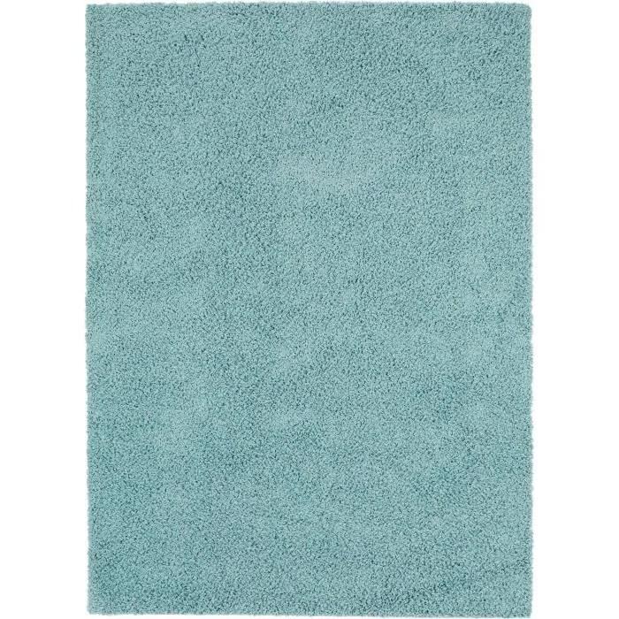 tapis shaggy a poils longs swirls bleu