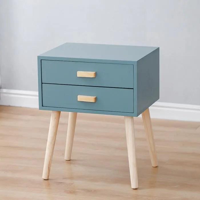 table de chevet bleu table de nuit en