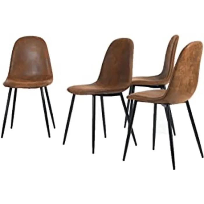 4 chaises 44x44x87cm scandinave retro vintage en suede marron pied metal noir