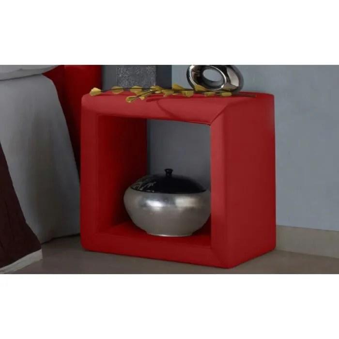 table de chevet cube couleur rouge