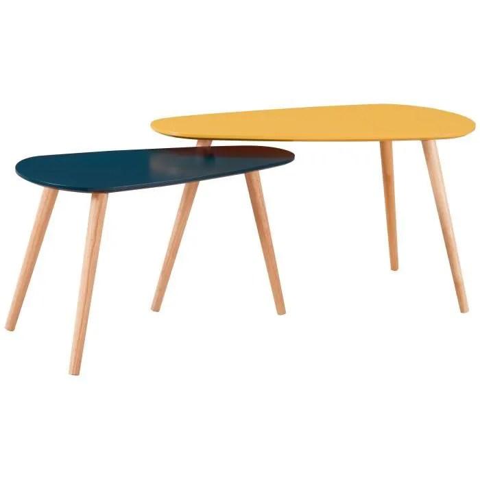 galet lot de 2 tables gigognes scandinave jaune moutarde et bleu canard laques mat l 81 5 x l 41 cm et l 67 x l 34 cm