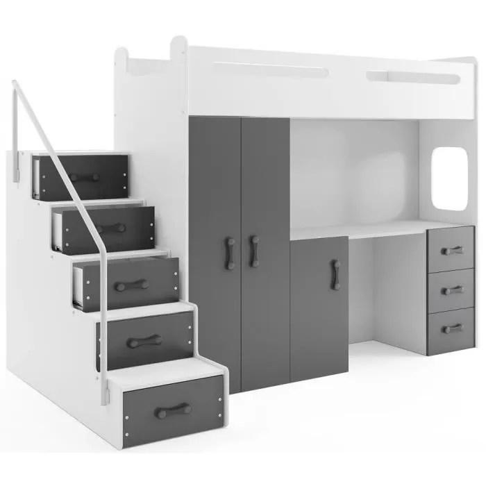 lit mezzanine max 4 en 80x200 avec bureau armoire matelas sommier et escalier en blanc gris