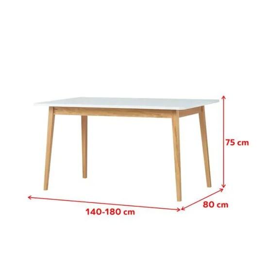 table extensible table a manger extensible veneer 140 180x80cm blanc bois de chene 1 rallonge style scandinave