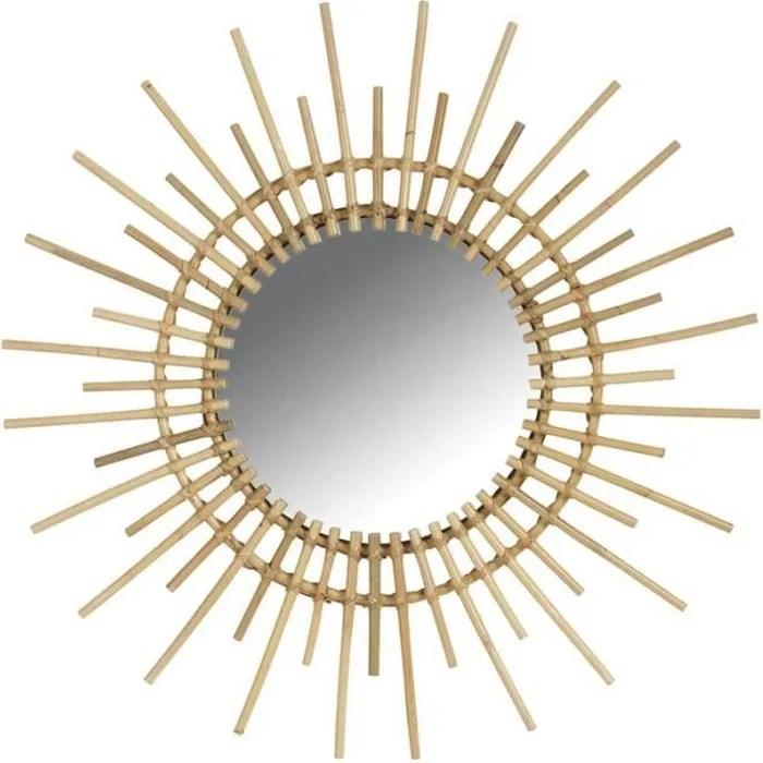 grand miroir soleil rotin