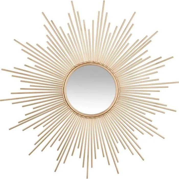 miroir deco soleil tube dore
