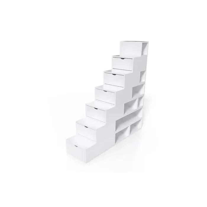 escalier cube de rangement hauteur 175 cm couleur blanc