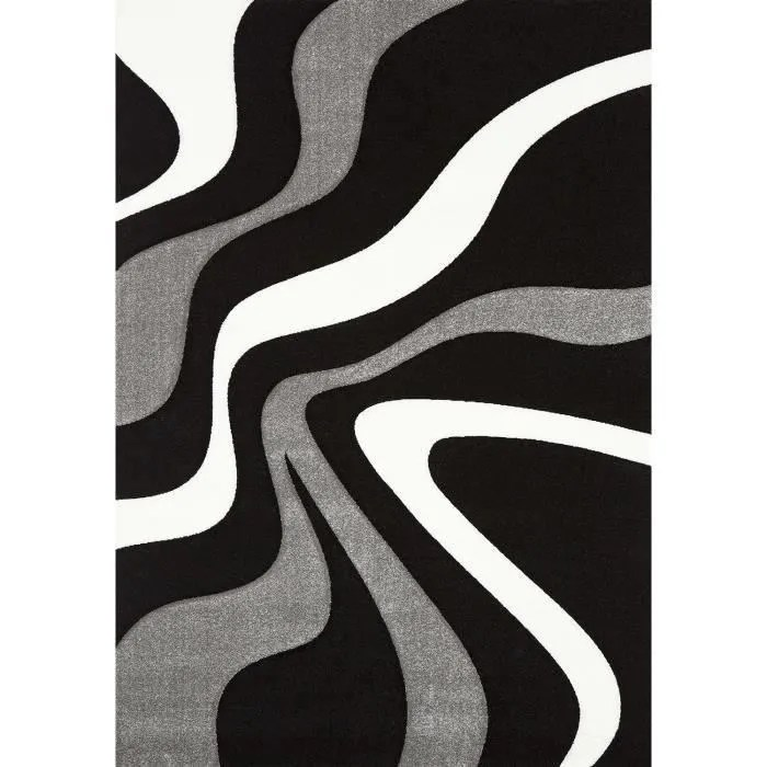 diamond vagues tapis de salon 120x170 cm noir gri