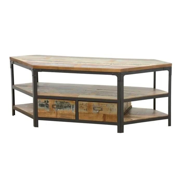 industriel meuble tv d angle 2 tiroirs wolof r