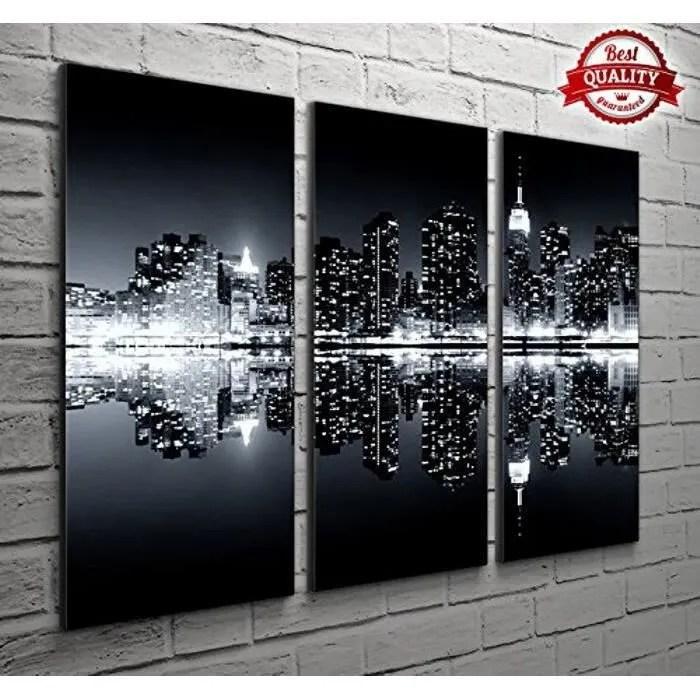 3 panneau new york noir et blanc paysage photos po