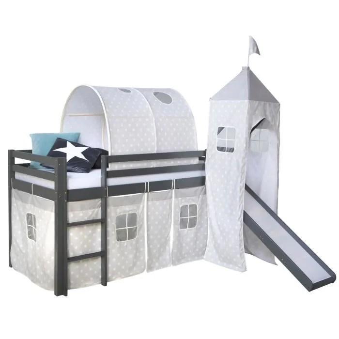 lit superpose mezzanine avec echelle glissoire tunnel et rideau en pin coloris gris 207 x 228 x 97 cm