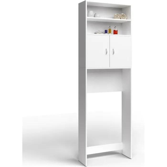 meuble de salle de bain blanc 195x63x20cm rangement buanderie etagere machine a laver armoire lave linge meuble wc