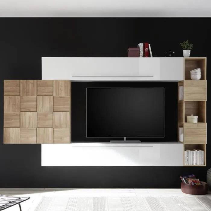 ensemble meuble tv blanc laque et couleur bois cla