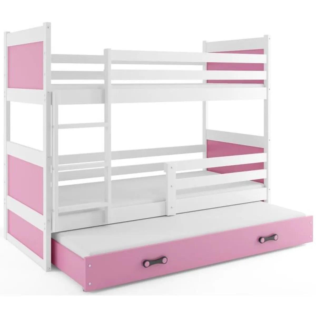 lit superpose rico 3 places 190x80 avec matelas sommiers et tiroir lit en blanc rose