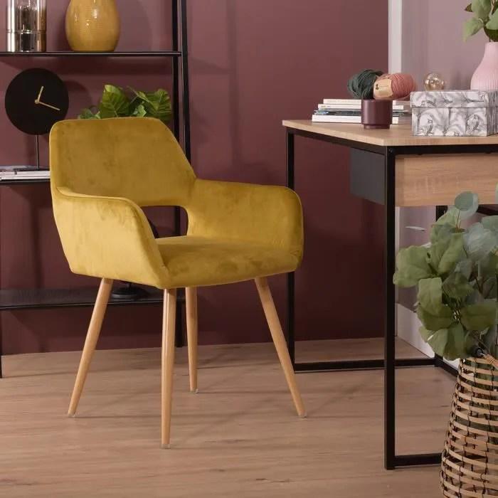 furnish1 fauteuil chaise velours jaune pieds metal style scandinave por bureau salle a manger salon chambre
